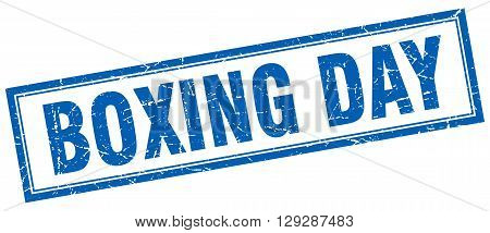 boxing day blue grunge square stamp on white