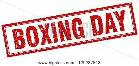 boxing day red grunge square stamp on white