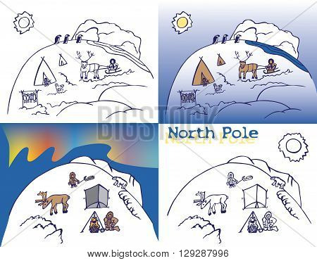 illustration on white background North pole with the inhabitants and people Northern lights