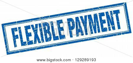 flexible payment blue grunge square stamp on white