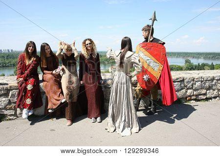Belgrade, Serbia - April, 23, 2016: Participants of Belgrade Knight Fest posing in medieval clothes