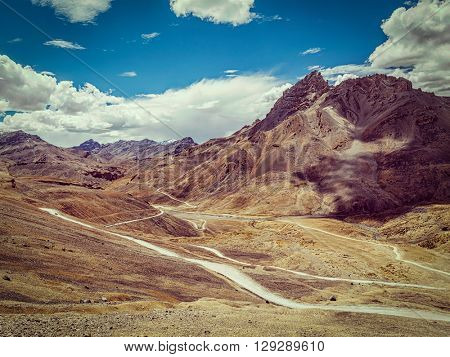 Vintage retro effect filtered hipster style image of famous Manali-Leh high altitude road road to Ladakh in Indian Himalayas. Ladakh, Jammu and Kashmir, India