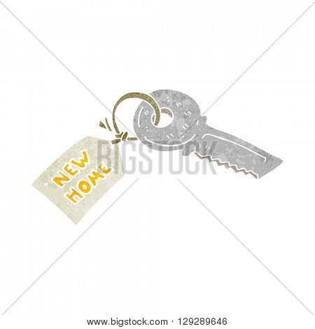freehand retro cartoon house key with new home tag