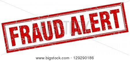 fraud alert red grunge square stamp on white