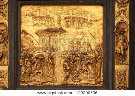 FLORENCE, ITALY - JUNE 05: Baptistry of Saint John, Gates of Paradise, Joshua, Florence, Italy on June 05, 2015