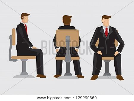 Vector illustration front back and side view of business professional wearing formal three-piece suit sitting on office swivel chair isolated on plain background.