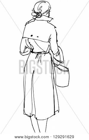 black and white vector sketch of a woman with a bag standing with his back to us