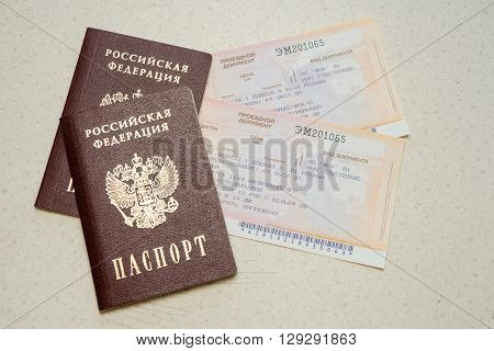 Volgograd, Russia - August 12, 2015: Two Passport Of The Citizen Of The Russian Federation And Two T