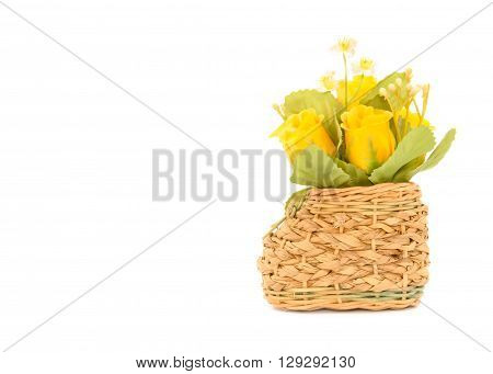 Basketry Shoes with Artificial Rose flower on white background
