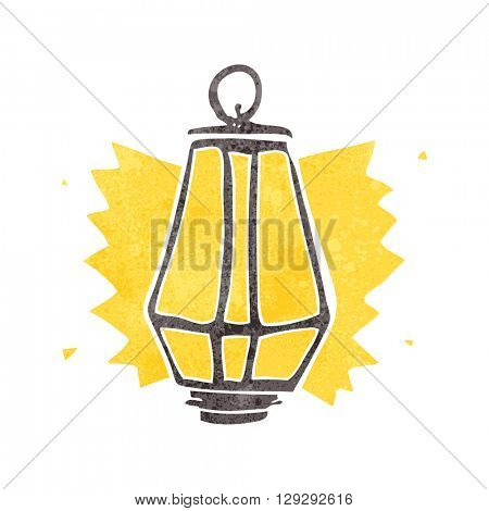 freehand retro cartoon lantern shining