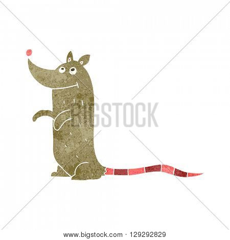 freehand retro cartoon rat