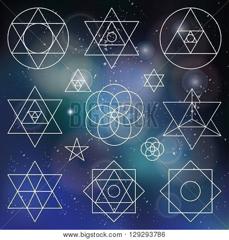 Sacred geometry symbols and icons.Vector outline objects.Vintage Alchemy, religion, philosophy, spirituality, hipster signs and elements.Buddhism, religion, historical set and ethnic shapes.Blurred space background