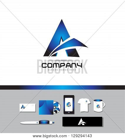 Corporate identity vector company logo icon element template dark blue alphabet letter a