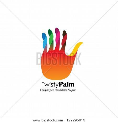 Colorful Abstract Unusual Hand Stop Vector Logo Icon