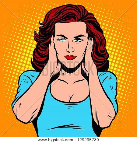 Girl ears closed silence pop art retro style. The senses hearing. Ears retro vector