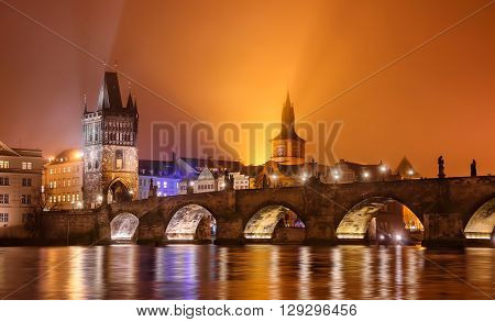 Charles bridge water reflection Prague Czech republic