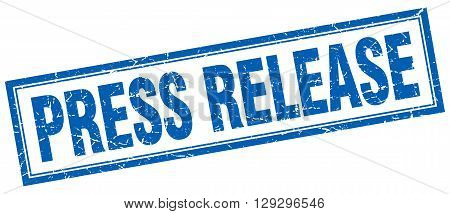 press release blue grunge square stamp on white