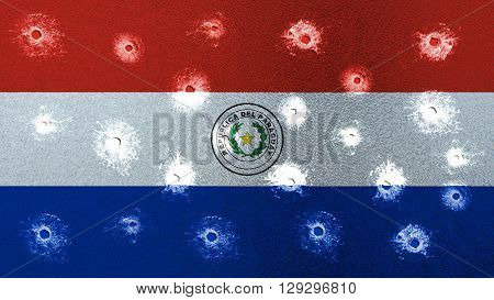 Flag of Paraguay, Paraguayan Flags with glass bullet holes