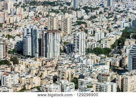 Aerial view of Tel Aviv city in Israel