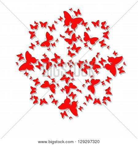 Mandala cards with butterflies for Valentine's Day. Vector illustration of a beautiful butterfly for a declaration of love. Emblem with butterflies