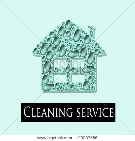 Concept logo, mascot for the cleaning service. Vector illustration of a clean home. Vector icons of buildings in the drops of pure water.