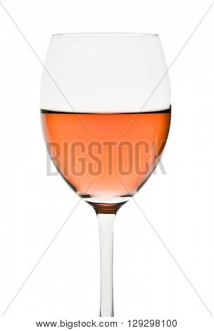 rose wine in glass isolated on white