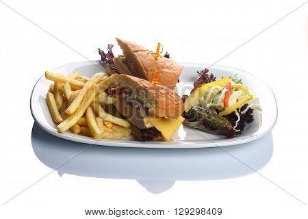 lunch salad sandwich garnish white plate French fries
