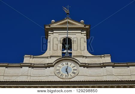 Italian Chamber of Deputies (Parliament) belfry with clock designed by architect Carlo Fontana in the 17th century