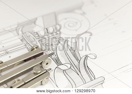 architectural drawing - detail column & compasses
