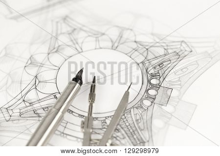 fountain pen, compass & architectural drawing - detail column