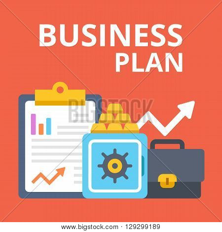Business plan, strategy, idea. Clipboard, briefcase, safe, gold bars and arrow. Modern flat design concepts for web banners, web sites, printed materials, infographics. Creative vector illustration