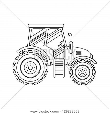 Flat tractor on white background. Tractor icon - vector illustration. Agricultural tractor - transport for farm in flat style. Farm tractor icon. Tractor icon vector illustration.