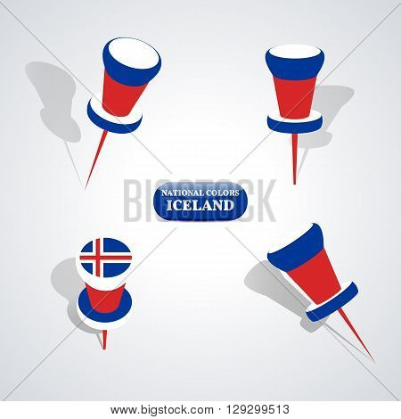 Set of pushpin in the national colors of Iceland vector illustration.
