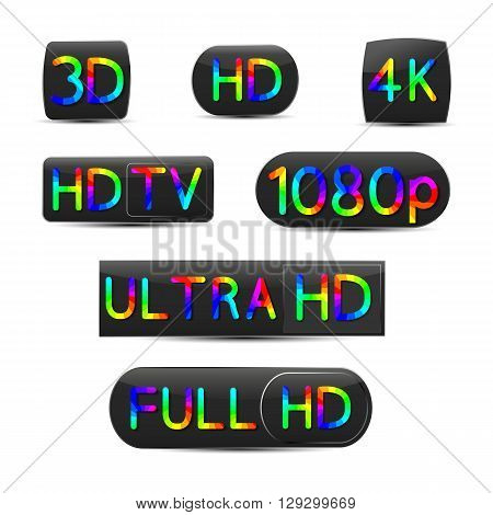 A set of high-definition video signs vector illustration.