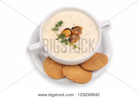Chowder Soup with mussles and crackers Isolated on White Background