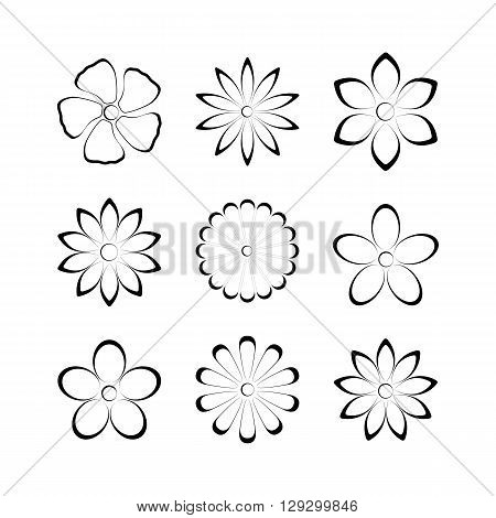 Flower buds vector design elements isolated on white background second set.