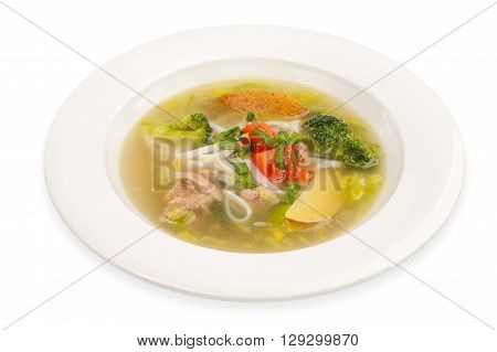 Chicken Noodle Soup isolated on white  background
