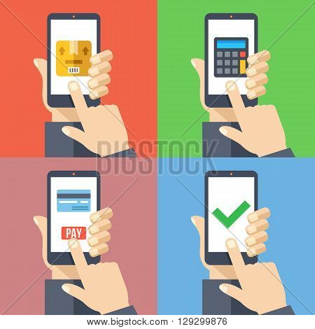 Hands with smartphones 4 banners set. Order goods from smartphone, pay online, shipping cost calculator modern concepts for web banners, web sites, infographics. Flat design vector illustration
