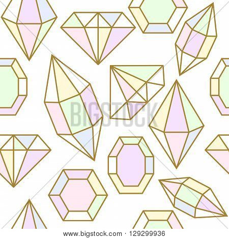 Diamond gem shape holographic chameleon facet seamless pattern. Diamond geometric golden outline objects.