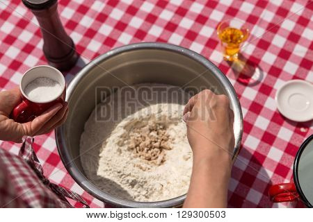 Ingredients For An Dough With Hands