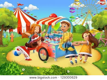 Park, playground vector background