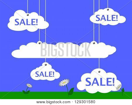Sale advertisement vector illustration with blue sky white clouds and summer meadow summer sale banner discount flyer funny cartoon sale optimistic landscape picture illustration with text place