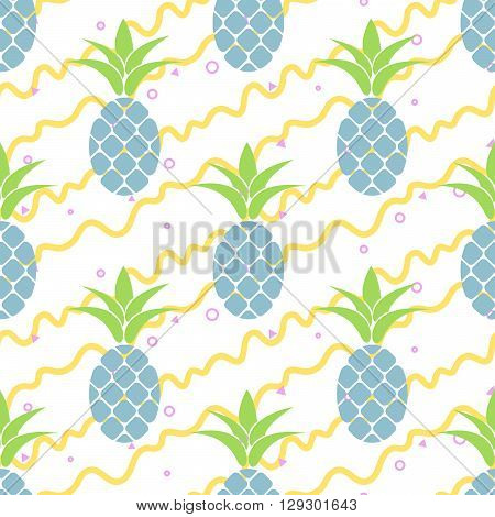 Summer pastel pineapple seamless design. Pattern for bed linen and apparel. Ananas yellow stripes and blue fun pattern.