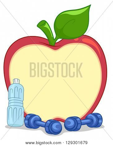 Illustration Featuring an Apple Shaped Board Placed Beside Dumbbells
