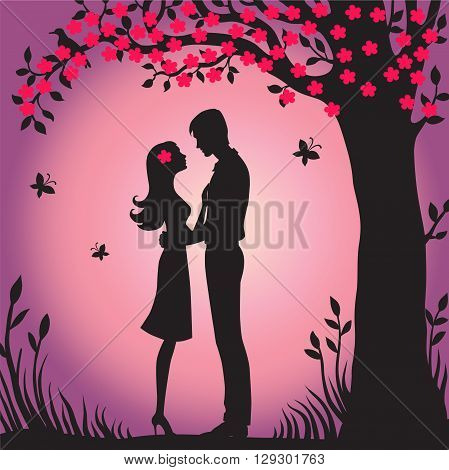 Illustration black silhouette of lovers embracing on a white background Couple in love Illustration of man and woman lovers flower viewing sakura