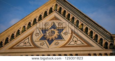 The facade of a Church in Florence Italy