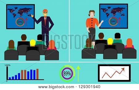 Businessman and businesswoman making presentation explaining charts on a board. Business seminar. Flat style vector illustration isolated on blue background.