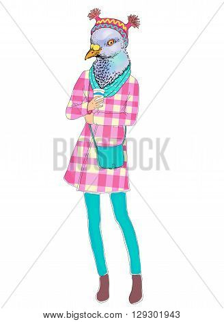 fashion animal illustration, anthropomorphic design, furry art, hand drawn illustration of bird girl dressed up in feather skirt  hat head drinking coffee cocktail vector hipster  dove