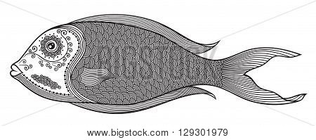 Vector illustration of isolated stylized abstract fish in black colour on white background. Anti-stress colouring for adult.