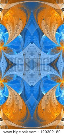 Seamless blue and orange background in stained glass window style. You can use it for invitations, notebook covers, phone cases, postcards, cards, wallpapers and so on.